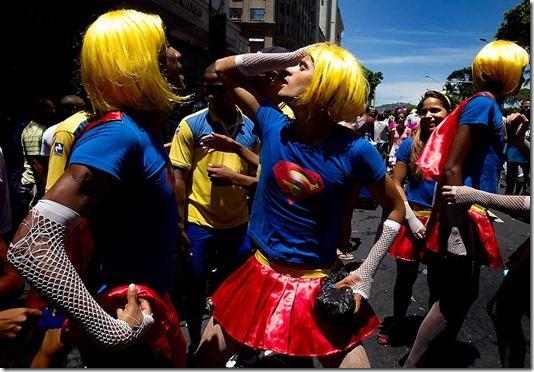 Revelers dance during the Cordao da Bola Preta carnival parade in downtown Rio de Janeiro. (Victor R. Caivano/Associated Press)
