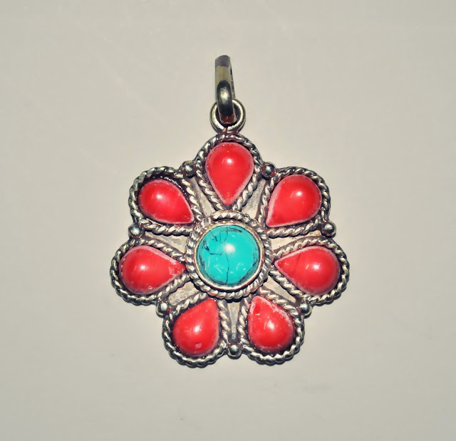 Coral with turquoise stone White Metal Pendant