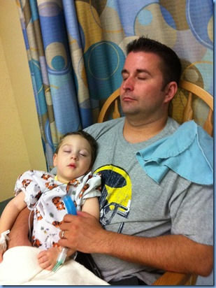 with daddy after surgery