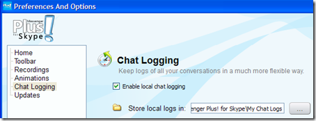 Messenger Plus per Skype salvare le chat in un file di testo