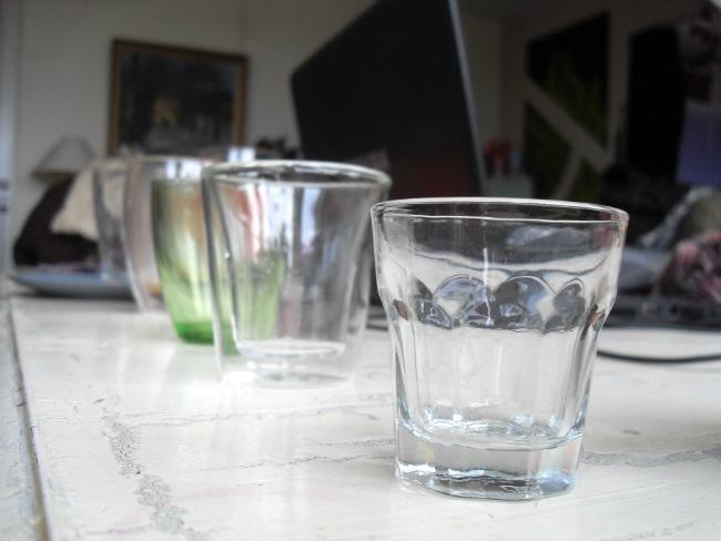 Glas på række