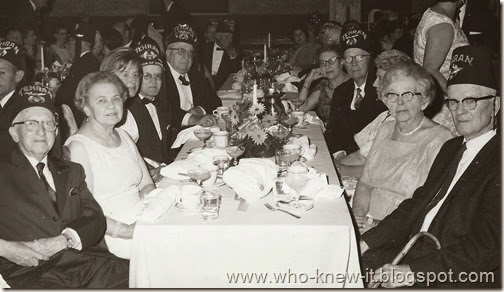 Banquet for Shriners 50 yrs or more Sig Loraine left Wm Burks opposite April 1967