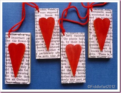 Wooden Valentine Heart Tags