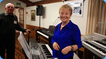 Club Events Manager, Diane Lyons, preparing to give her performance on her superb new Korg Pa900. Photo courtesy of Dennis Lyons.