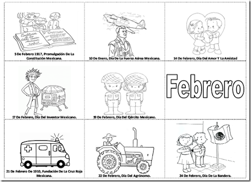 TE CUENTO UN CUENTO: Efemérides de febrero para colorear