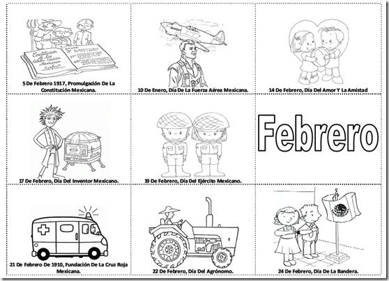 Fechas importantes de febrero para colorear -  efemérides de febrero para pintar