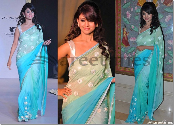 Green_Blue_Dual_Color_Georgette_Saree