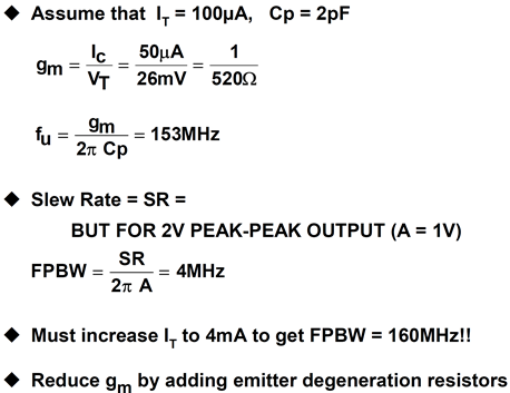 VFB op amp bandwidth and slew rate calculations