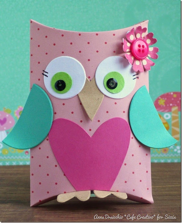cafe creativo - big shot sizzix - owl pillow box - gufi scatolina (2)