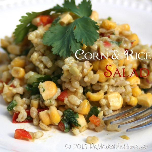 Delicious, easy, and healthy Corn & Rice Salad recipe @ ReMarkableHome.net