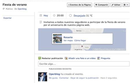 Crear un evento en Facebook