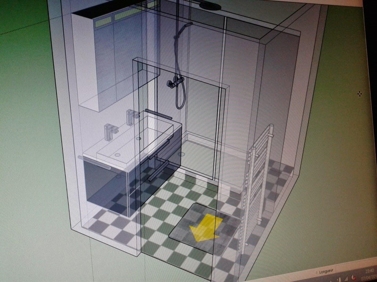 D exception petite salle de bain en n b for Salle de bain 4m2 ikea