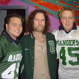 Dave Callan from Triple J and Rove Live with Ranger players Daniel Williams and Dan O'Sullivan