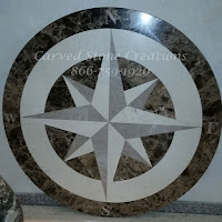 D36x3/4 Polished Marble Compass Medallion Dark Emperador Lt Emperador Jerusalem Bone.