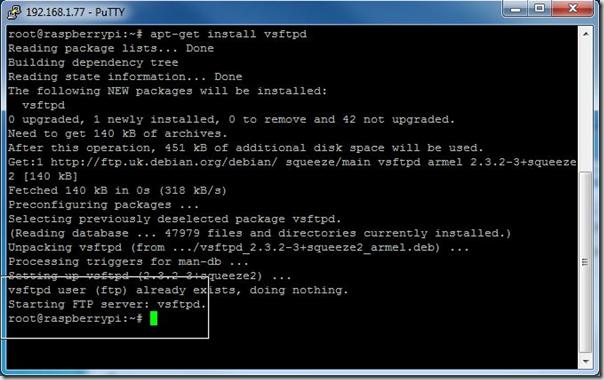 sudo apt-get install vsftp