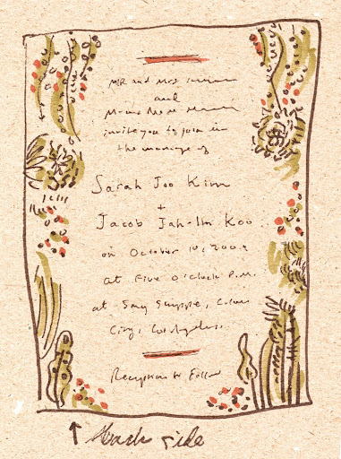 A sketch of the back of the invite.