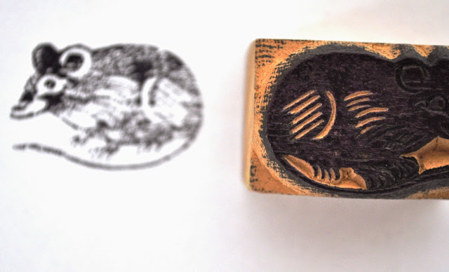 Wooden Block Mouse Stamp