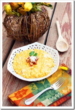 Creamy Pumpkin Risotto with Bacon and Parmesan