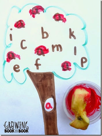 Letter A Apple Stamping #preschool #fall #alphabet