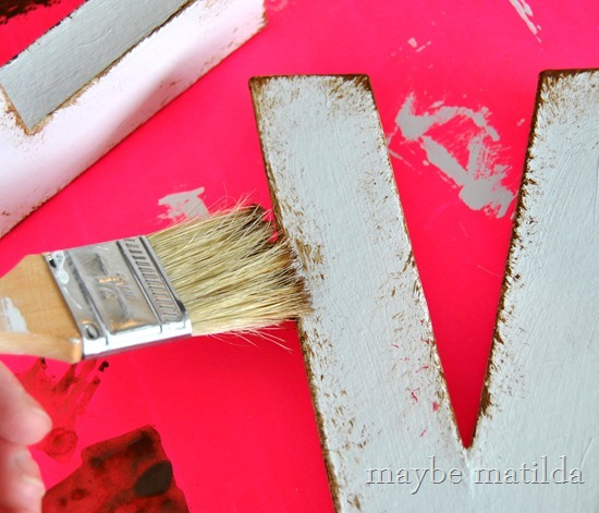 Faux-Distress Painted Letters