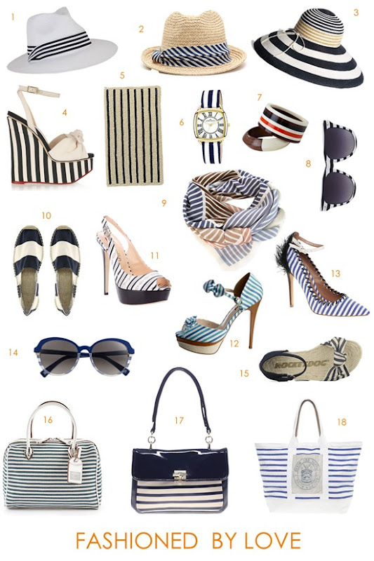 stripes nautical accessories shoes bags hats sunglasses