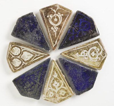 Tile Assemblage | Origin: Iran | Period:  late 12th-early 13th century | Collection: The Madina Collection of Islamic Art, gift of Camilla Chandler Frost (M.2002.1.194a-h) | Type: Ceramic; Architectural element, Fritware, glazed and luster-painted, Diameter: 7 7/8 in. (20 cm)
