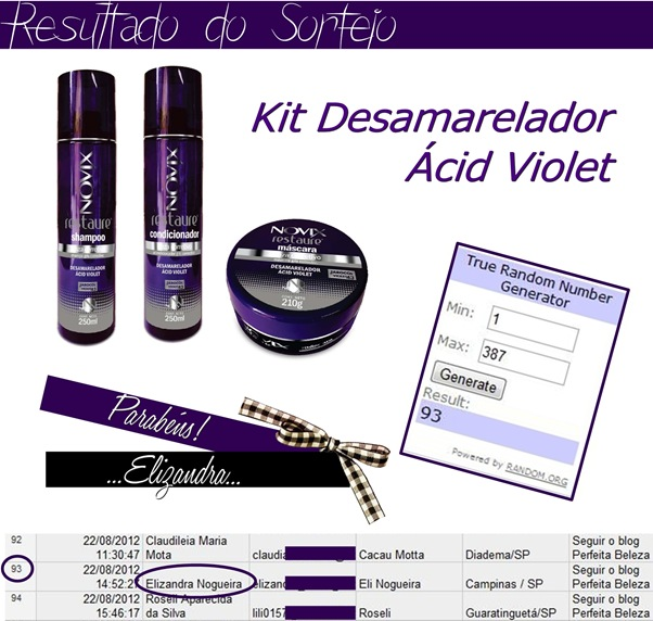 resultado do sorteio-Kit desamarelador ácid violet