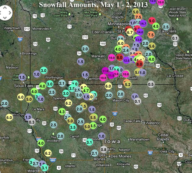 Observed snowfall amounts in inches from the 1 May - 2 May 2013 snowstorm as of 9am EDT, 2 May 2013. A rare and historic May snowstorm pelted Iowa, Minnesota, and Wisconsin with snowfall amounts unprecedented in the historical record for the month of May. Graphic: NWS Minneapolis
