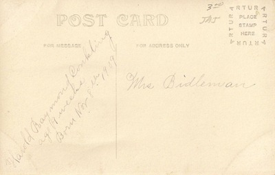 Postcard Harold Raymond Conkling DL Antiques back
