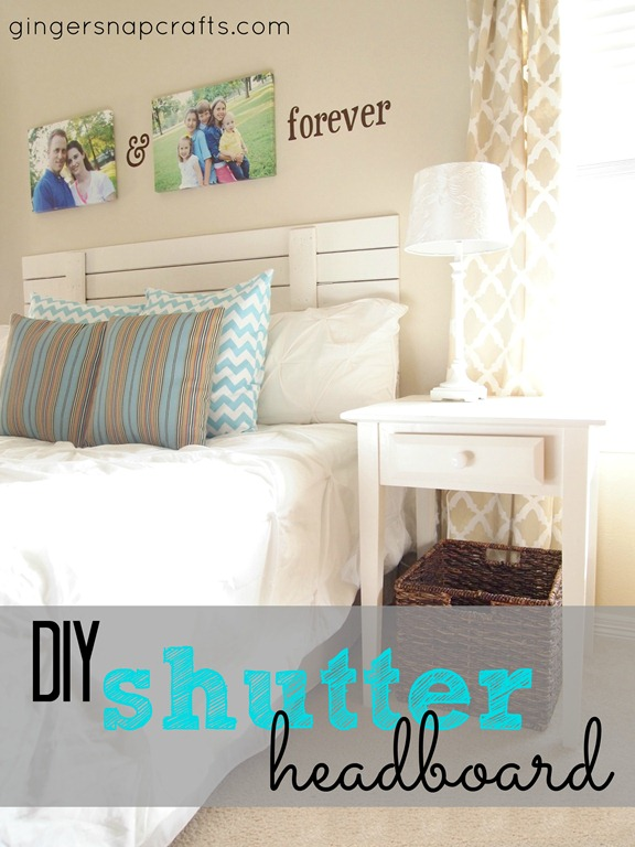 DIY shutter headboard from GingerSnapCrafts.com