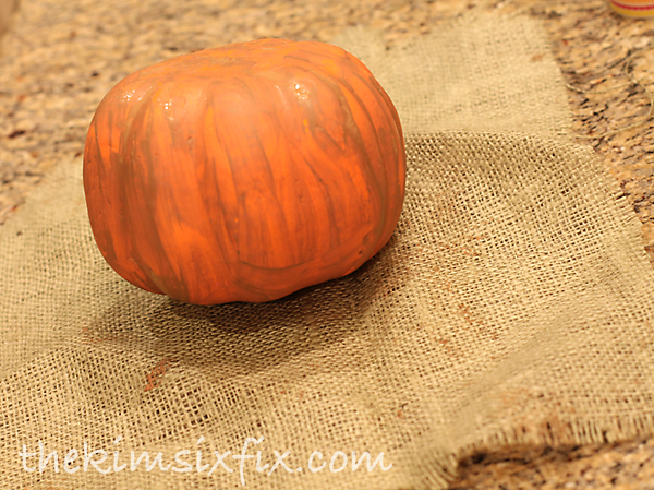 Wrap pumpkin in burlap