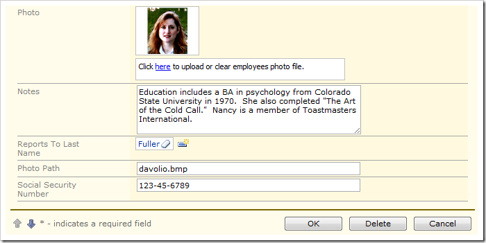 Social Security number field value is displayed to the user.