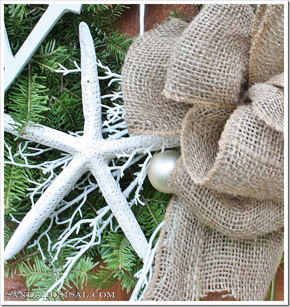 starfish and burlap wreath