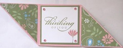 thinking of you pink and green fold card inside