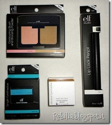 Blush & Bronzer Compact, Lip Lock Pencil, Mineral eyeshadow in Caffinated, Studio Single Eyeshadow in Totally teal