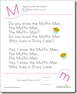 Letter M muffin man