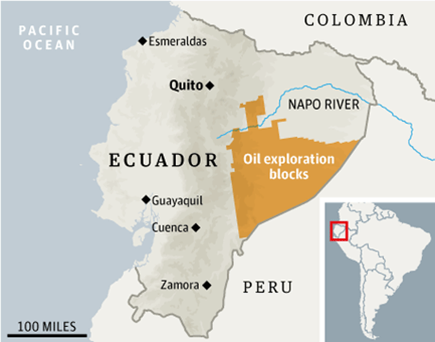 Oil exploration blocks to be auctioned off by Ecuador. Ecuador plans to auction off more than three million hectares of pristine Amazonian rainforest to Chinese oil companies, angering indigenous groups and underlining the global environmental toll of China's insatiable thirst for energy. Graphic: Amazon Watch