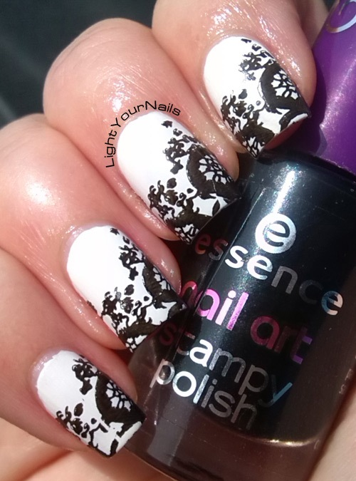 black and white stamping nail art