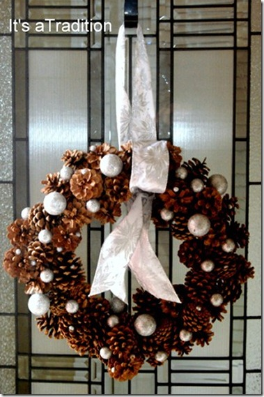 Winter wreath--pinecone wreath with white ornaments