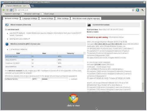 Instant WebKiosk - configurazione