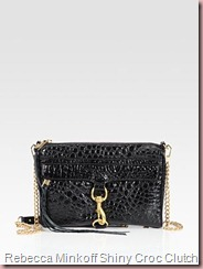 Rebecca Minkoff Mac Shiny Croc-Stamped Clutch
