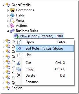 Context menu option to edit the code business rule in Visual Studio.