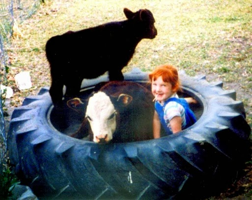 Amber in tire with calf2