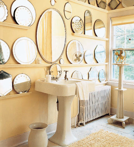 I love the use of several antique mirrors in this bathroom (image from MSL Special Issue 2007)