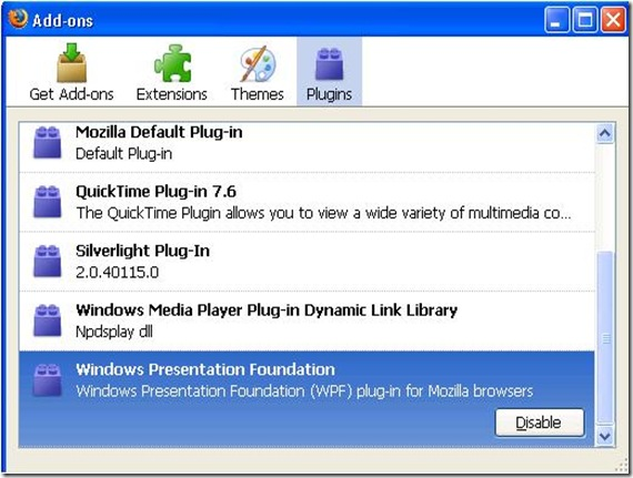 Windows Presentation Foundation Plugin de actualización para Firefox