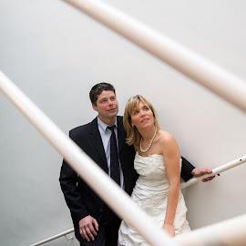 wedding of Katia and Michel 2 by Dimitri Haeck - Wedding Bride & Groom ( vrouw, stairs, mantrap, wedding, wit, woman, huwelijk, white, zwart, man, black )