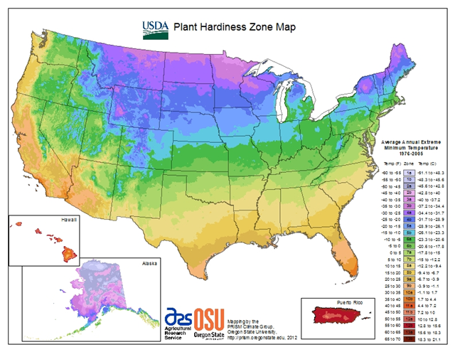 The 2012 Plant Hardiness Zone Map for the United States. USDA