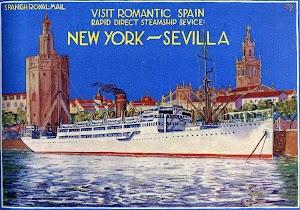 Cartel de promoción de los cruceros Nueva York-Sevilla. Del LIBRO DE INFORMACION PARA EL PASAJERO. COMPAÑÍA TRASATLANTICA. AÑO 1.926