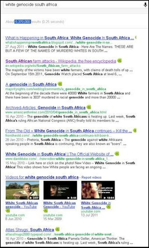 white genocide 5370000 Google results Dec 23 2011