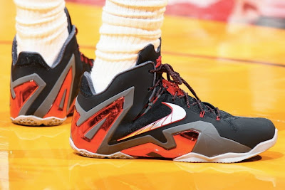 nike lebron 11 ps elite miami heat away pe 1 02 Closer Look at James Nike LeBron 11 Elite Game 2 & 3 PE